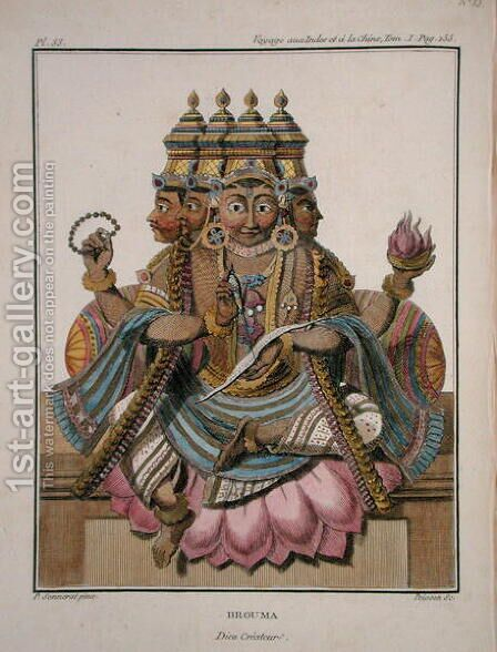 Brahma, Hindu god of creation, from Voyage aux Indes et a la Chine by Pierre Sonnerat, engraved by Poisson, published 1782 by (after) Sonnerat, Pierre - Reproduction Oil Painting