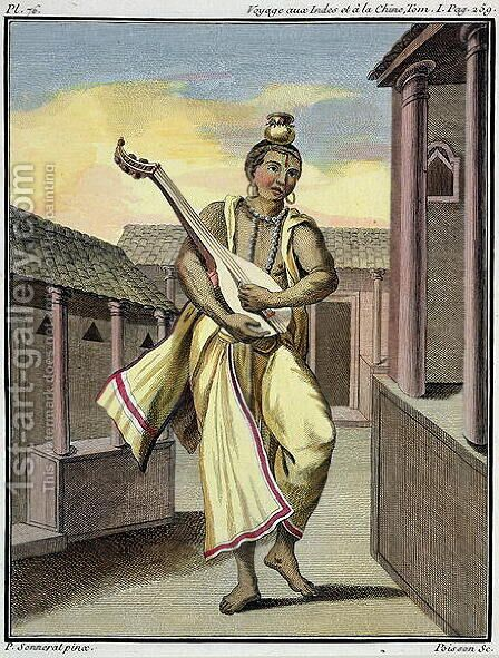Musician with Indian Lute, from Voyage aux Indes et a la Chine by Pierre Sonnerat, engraved by Poisson, published 1782 by (after) Sonnerat, Pierre - Reproduction Oil Painting