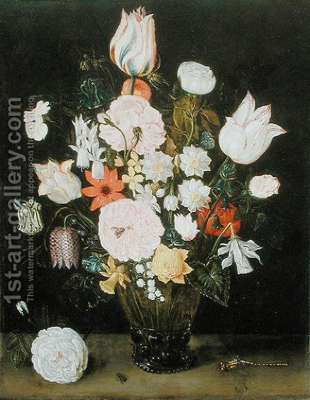 Flowerpiece with Dragonfly by Isaak Soreau - Reproduction Oil Painting
