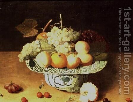 Still Life of Fruit in a Porcelain Bowl by Isaak Soreau - Reproduction Oil Painting