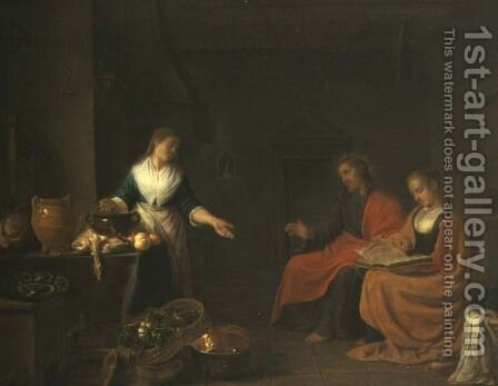 Christ in the House of Martha and Mary by Hendrick Maertensz. Sorch (see Sorgh) - Reproduction Oil Painting