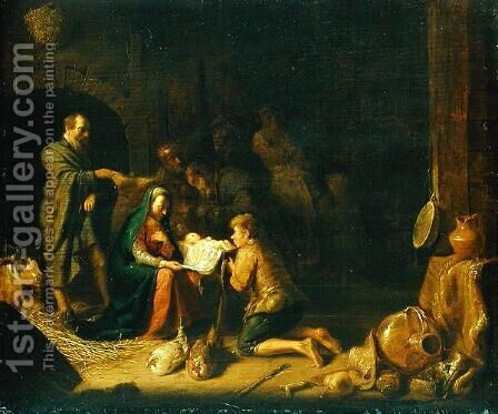 Adoration of the Shepherds by Hendrick Maertensz. Sorch (see Sorgh) - Reproduction Oil Painting