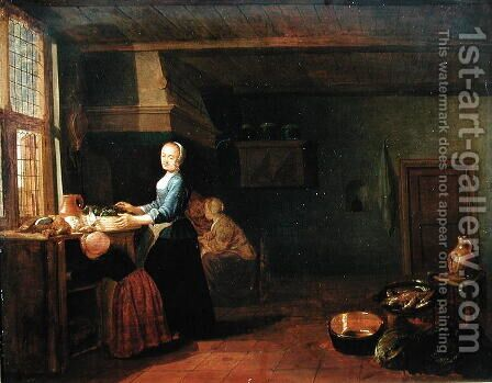 Kitchen Interior 2 by Hendrick Maertensz. Sorch (see Sorgh) - Reproduction Oil Painting