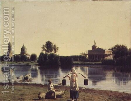 View of Lake Moldino in the Islands, 1844 by Grigori Vasilievich Soroka - Reproduction Oil Painting