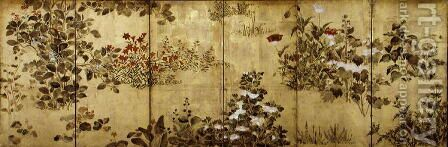 Six-Fold Screen depicting Flowering Plants in the Four Seasons, Early Edo Period by (attr. to) Sotatsu, Nonomura - Reproduction Oil Painting