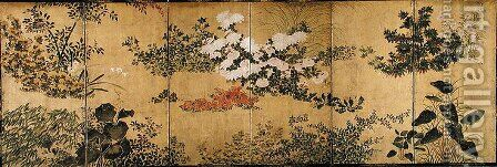 Six-Fold Screen depicting Flowering Plants in the Four Seasons, early Edo Period 2 by (attr. to) Sotatsu, Nonomura - Reproduction Oil Painting