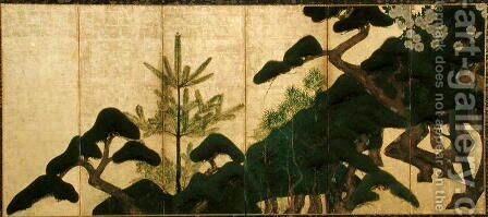 Six-Fold Screen depicting Pine and Cherry Blossoms, Edo Period by (attr. to) Sotatsu, Nonomura - Reproduction Oil Painting