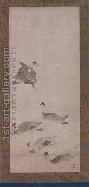 Waterfowl, one of a pair of hanging scrolls, Edo period by Anonymous Artist - Reproduction Oil Painting