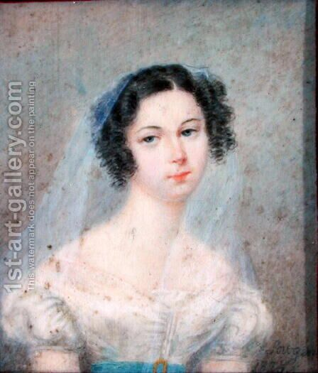 Miniature of Evelina Hanska 1801-82 1825 by Holz von Sowgen - Reproduction Oil Painting
