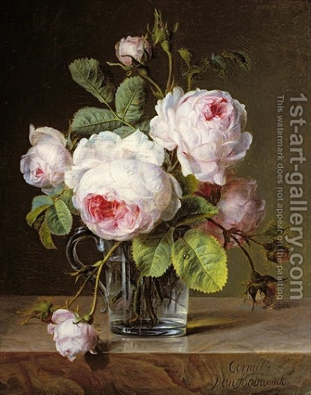 Roses in a Glass Vase on a Ledge by Cornelis van Spaendonck - Reproduction Oil Painting