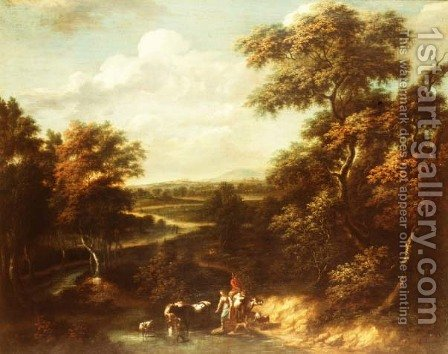 An extensive wooded landscape with a herdsman and a peasant girl by Jan Philip Spalthof - Reproduction Oil Painting