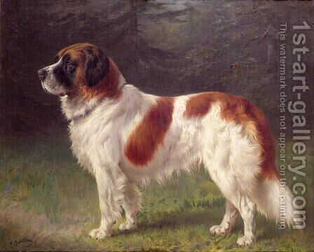 St. Bernard by Heinrich Sperling - Reproduction Oil Painting