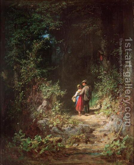 Lovers in a Wood, c.1860 by Carl Spitzweg - Reproduction Oil Painting