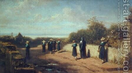 School Girls Going for a Walk by Carl Spitzweg - Reproduction Oil Painting