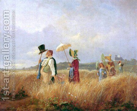 Sunday Stroll by Carl Spitzweg - Reproduction Oil Painting