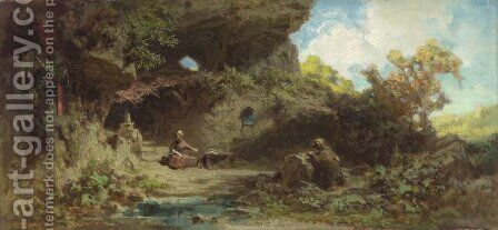 A Hermit in the Mountains by Carl Spitzweg - Reproduction Oil Painting