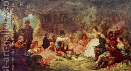 The Picnic, c.1864 by Carl Spitzweg - Reproduction Oil Painting