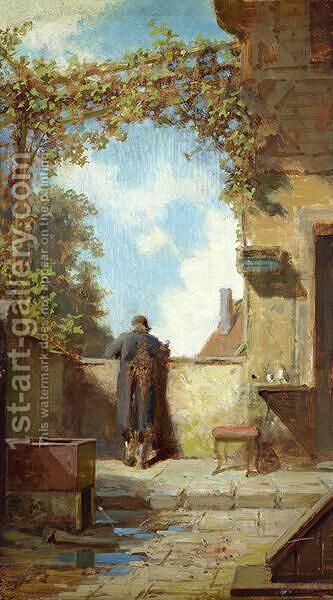 Old Man on the Terrace by Carl Spitzweg - Reproduction Oil Painting