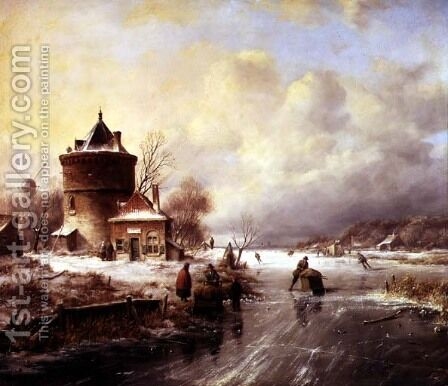 A Frozen River by Jan Jacob Spohler - Reproduction Oil Painting