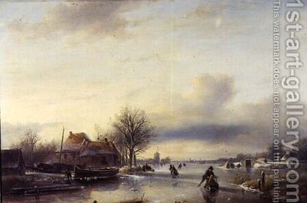 Winter Landscape by Jan Jacob Spohler - Reproduction Oil Painting