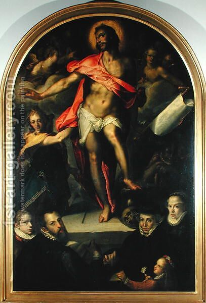 The Resurrection with Portraits of Nicolas Muller and his Family by Bartholomaeus Spranger - Reproduction Oil Painting