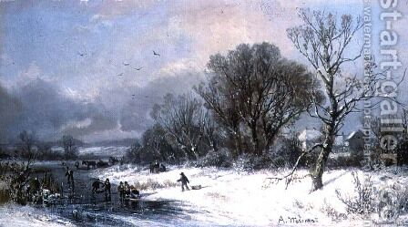 Winter Delights by Adolf Stademan - Reproduction Oil Painting