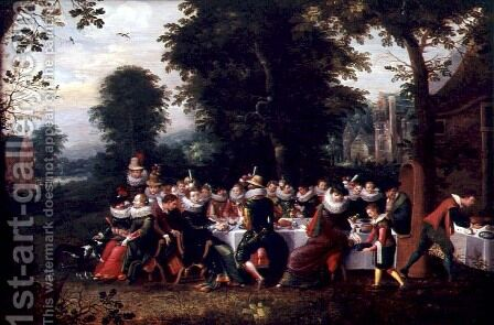 Fete Champetre by Adriaen van Stalbempt - Reproduction Oil Painting