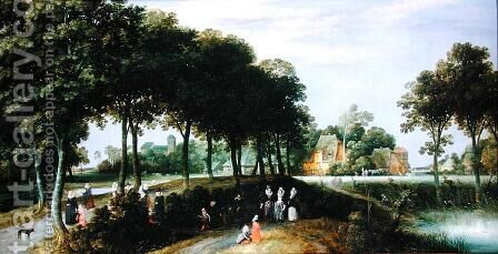 A Family Walking to Church by Adriaen van Stalbempt - Reproduction Oil Painting