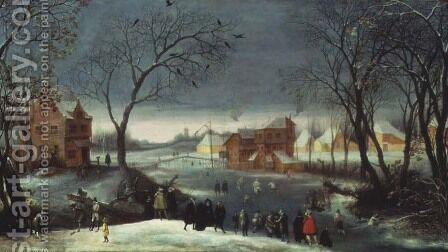Winter Landscape with Skaters by Adriaen van Stalbempt - Reproduction Oil Painting