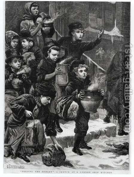 Feeding the Hungry, A London Soup Kitchen, 1880 by Charles J. Staniland - Reproduction Oil Painting