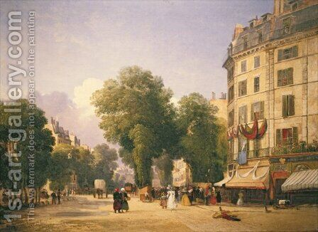 Boulevard des Capucines on the Corner of Rue de la Paix now Place de lOpera, Paris, 1829 by Colet Robert Stanley - Reproduction Oil Painting
