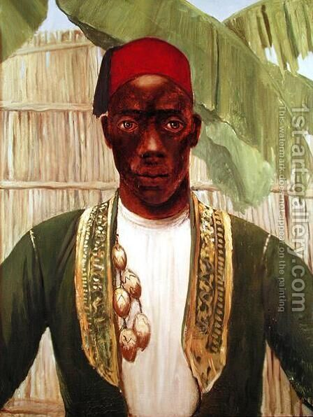 King Mutesa of Buganda, from a photo by Dorothy, nee Tennant Stanley - Reproduction Oil Painting