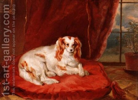 A Cavalier King Charles Spaniel Lying on a Red Cushion by Arthur J. Stark - Reproduction Oil Painting