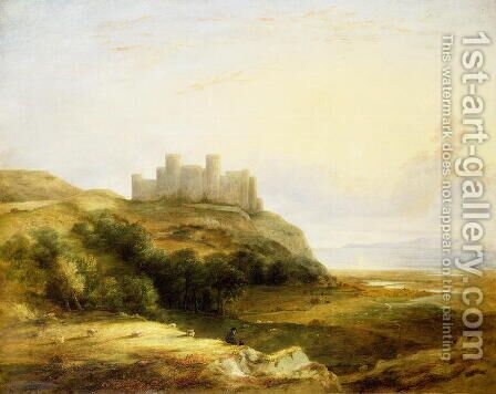 A View of Harlech Castle by James Stark - Reproduction Oil Painting