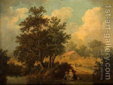 Landscape with Figures at a Stream by James Stark - Reproduction Oil Painting