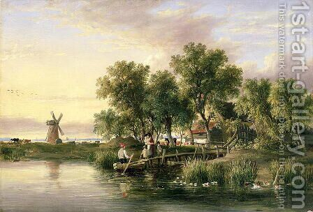 A Sunlit Norfolk River landscape by James Stark - Reproduction Oil Painting