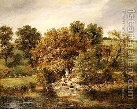 Sheep Washing at Postwick Grove, Norwich, c.1822 by James Stark - Reproduction Oil Painting