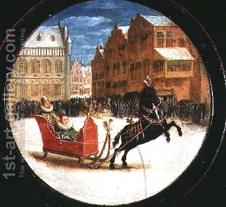 Winter landscape with figures in a horsedrawn sleigh by Hendrick van, the Younger Steenwyck - Reproduction Oil Painting
