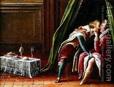Amorous couple in an interior, 1605 by Hendrick van, the Younger Steenwyck - Reproduction Oil Painting