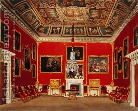 The Second Drawing Room, Buckingham House, from The History of the Royal Residences, engraved by Thomas Sutherland b.1785, by William Henry Pyne 1769-1843, 1818 by James Stephanoff - Reproduction Oil Painting