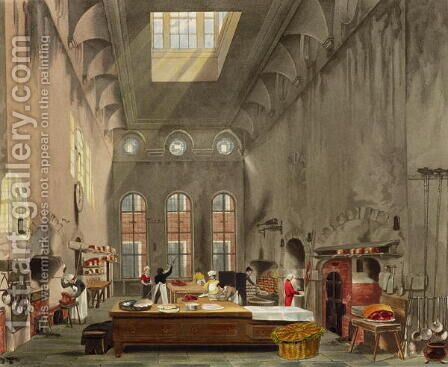 Kitchen, St. Jamess Palace, engraved by William James Bennett 1787-1844 from The History of the Royal Residences by William Henry Pyne 1769-1843 pub. 1819 by James Stephanoff - Reproduction Oil Painting