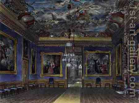 The Kings Drawing Room, Windsor Castle, from Royal Residences, engraved by Thomas Sutherland b.1785, pub. by William Henry Pyne 1769-1843, 1817 by James Stephanoff - Reproduction Oil Painting