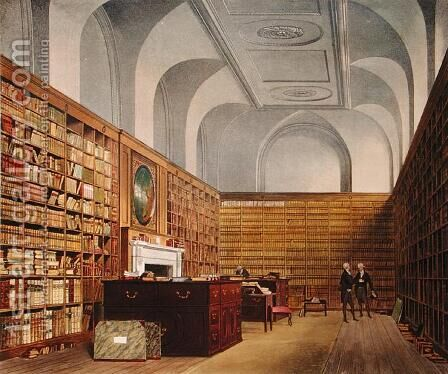 The Kings Library, Buckingham House, from The History of the Royal Residences, engraved by James Baily, by William Henry Pyne 1769-1843, 1819 by James Stephanoff - Reproduction Oil Painting