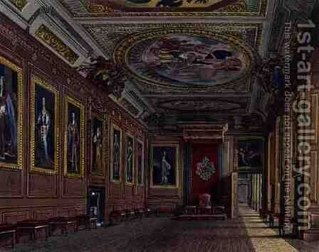 The Kings Presence Chamber, Windsor Castle, from Royal Residences, engraved by W. J. Bennett, pub. by William Henry Pyne 1769-1843, 1818 by James Stephanoff - Reproduction Oil Painting