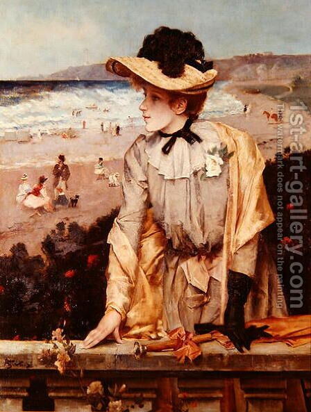 Young Woman at the Beach, or The Parisienne by the Sea by Alfred-Emile-Leopole Stevens - Reproduction Oil Painting