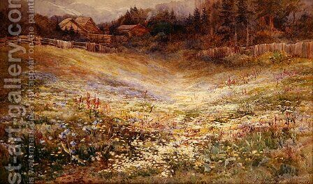 A Meadow in the Alps by Mary Stevens - Reproduction Oil Painting