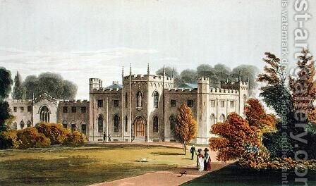 Roehampton Priory, from Ackermanns Repository of Arts, published 1827 by (after) Stockdale, Frederick Wilton Litchfield - Reproduction Oil Painting