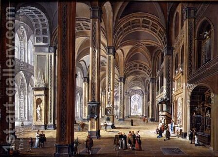 Interior of a Gothic Cathedral by Christian Stocklin - Reproduction Oil Painting