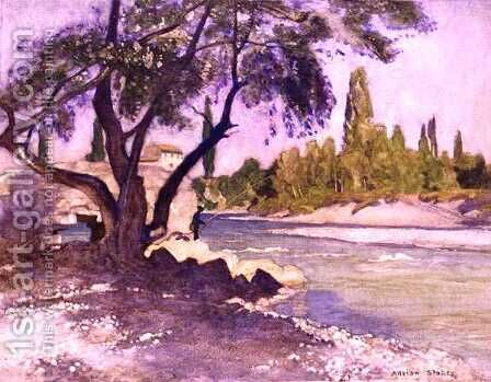The Durance at Sisteron, France by Adrian Scott Stokes - Reproduction Oil Painting