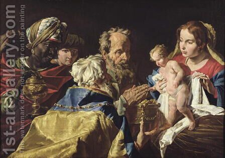 Adoration of the Magi by Matthias Stomer - Reproduction Oil Painting